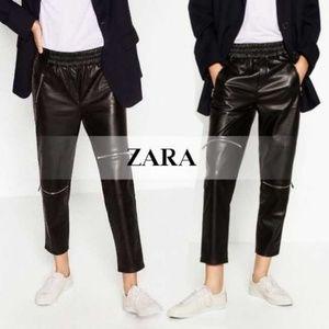 Zara Pants - Zara Premium faux leather zipper jogger pant NWT